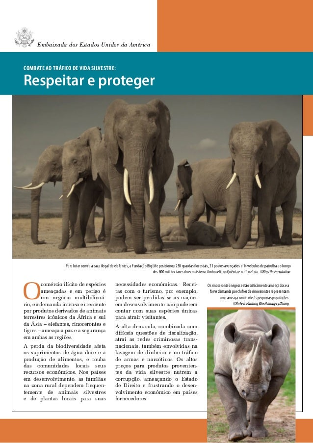 Embaixada dos Estados Unidos da AméricaCombate ao tráfico de vida silvestre:Respeitar e proteger                   Para lu...