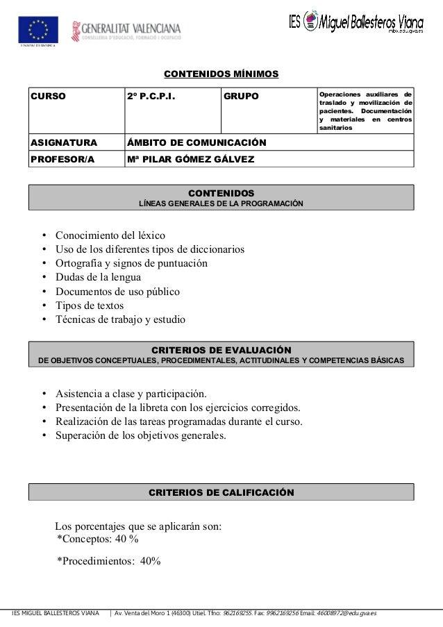 CONTENIDOS MÍNIMOS CURSO 2º P.C.P.I. GRUPO Operaciones auxiliares de traslado y movilización de pacientes. Documentación y...