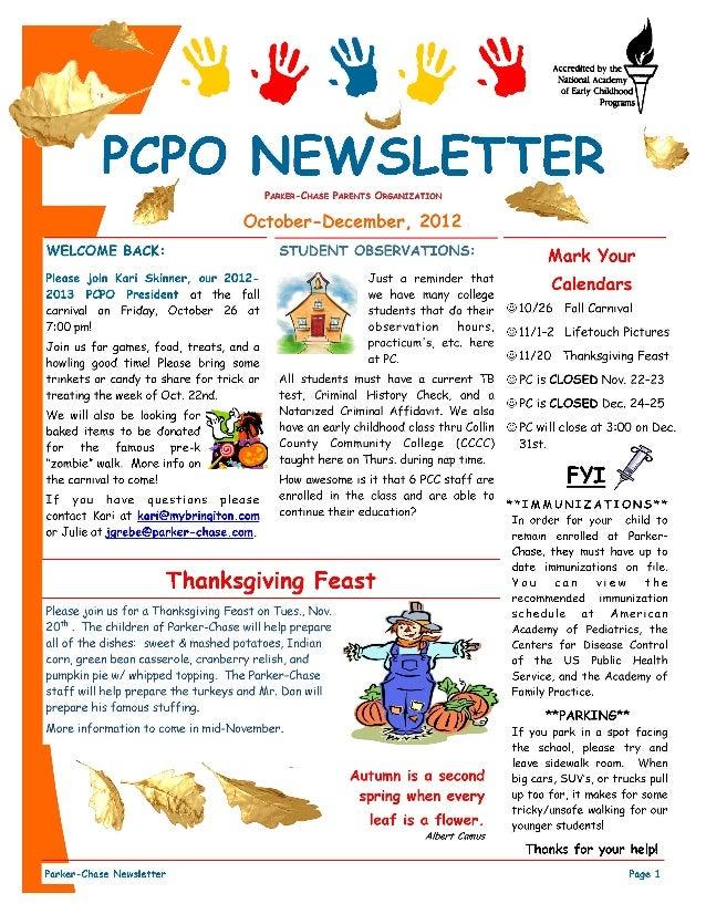 childcare newsletter templates - pcpo october december 2012 newsletter
