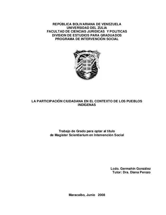 REPÚBLICA BOLIVARIANA DE VENEZUELA UNIVERSIDAD DEL ZULIA FACULTAD DE CIENCIAS JURIDICAS Y POLITICAS DIVISION DE ESTUDIOS P...