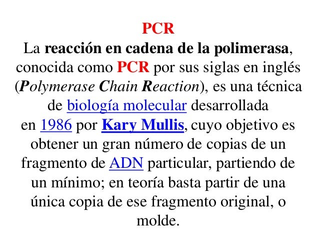 PCR La reacción en cadena de la polimerasa, conocida como PCR por sus siglas en inglés (Polymerase Chain Reaction), es una...