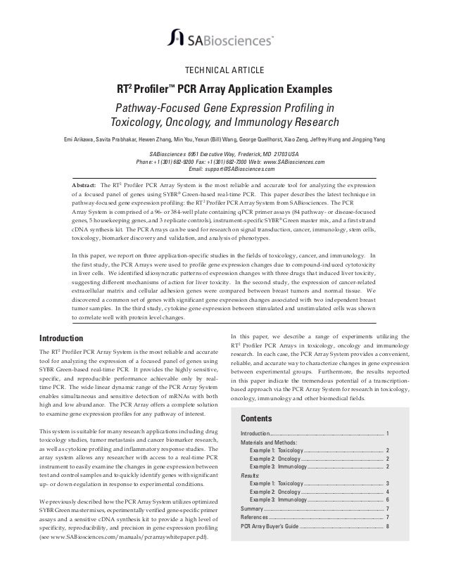 TECHNICAL ARTICLE  RT2 Profiler™ PCR Array Application Examples  Pathway-Focused Gene Expression Profiling in Toxicology, ...