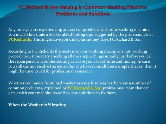 Pc richard son helping in common washing machine problems and solut - Common washing machine problems ...