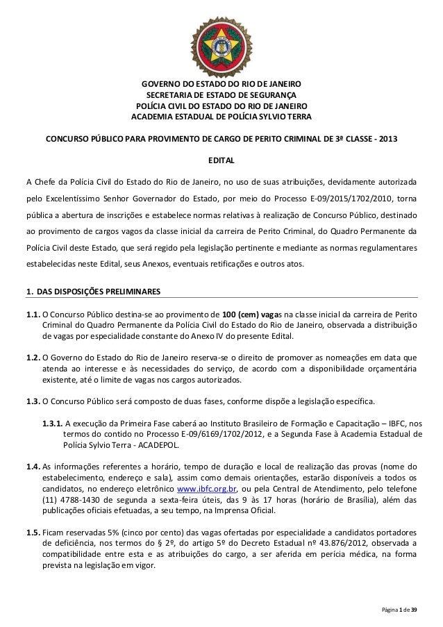 Página 1 de 39 GOVERNO DO ESTADO DO RIO DE JANEIRO SECRETARIA DE ESTADO DE SEGURANÇA POLÍCIA CIVIL DO ESTADO DO RIO DE JAN...