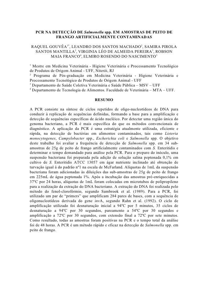 PCR NA DETECÇÃO DE Salmonella spp. EM AMOSTRAS DE PEITO DE              FRANGO ARTIFICIALMENTE CONTAMINADAS      RAQUEL GO...