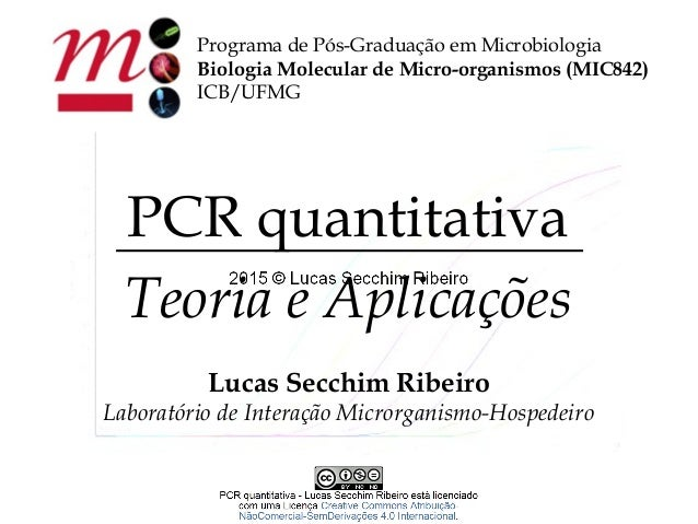 Programa de Pós-Graduação em Microbiologia Biologia Molecular de Micro-organismos (MIC842) ICB/UFMG PCR quantitativa Teori...