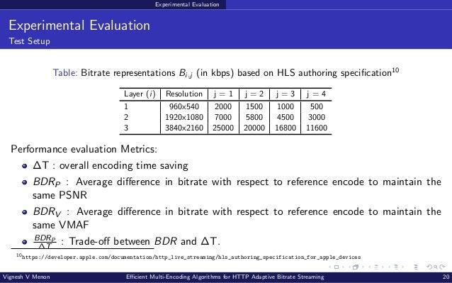 Experimental Evaluation Experimental Evaluation Test Setup Table: Bitrate representations Bi,j (in kbps) based on HLS auth...