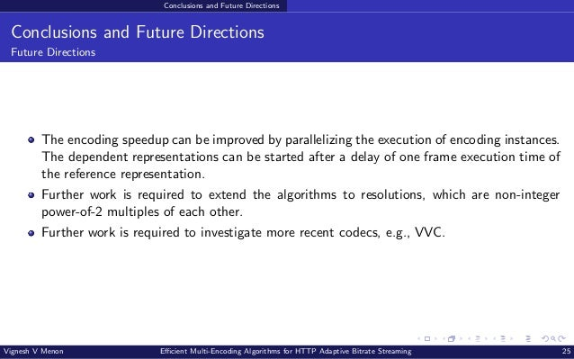 Conclusions and Future Directions Conclusions and Future Directions Future Directions The encoding speedup can be improved...