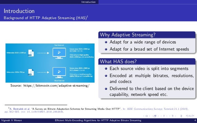 Introduction Introduction Background of HTTP Adaptive Streaming (HAS)1 Source: https://bitmovin.com/adaptive-streaming/ Wh...