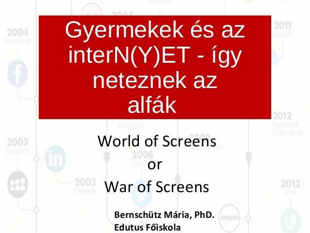 Gyermekek és az interN(Y)ET - így neteznek az alfák World of Screens or War of Screens Bernschütz Mária, PhD. Edutus Főisk...