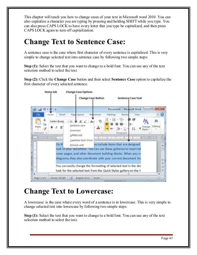 how to turn auto capitalization on word 2010