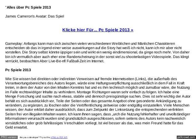 """""""Alles über Pc Spiele 2013  James Camerons Avatar: Das Spiel                                                         Klick..."""
