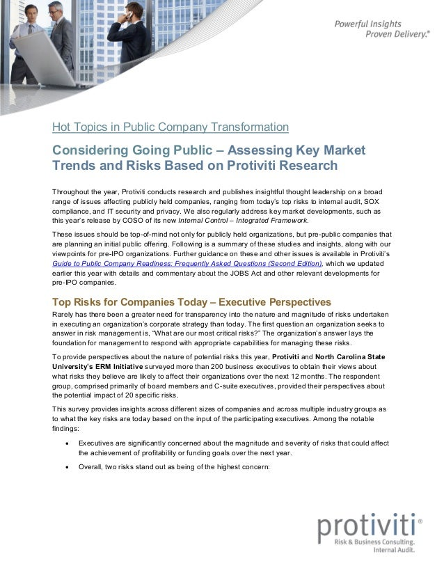 Hot Topics in Public Company Transformation Considering Going Public – Assessing Key Market Trends and Risks Based on Prot...