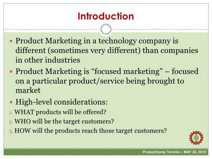 PCT2010  - Role of Product Marketing Slide 2
