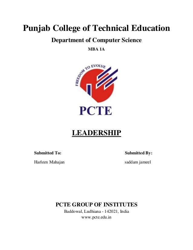 Pcte Assignment Cover Page Sample (1). Punjab College Of Technical  Education Department Of Computer Science MBA 1A LEADERSHIP Submitted To:  Submitted  Cover Page Sample