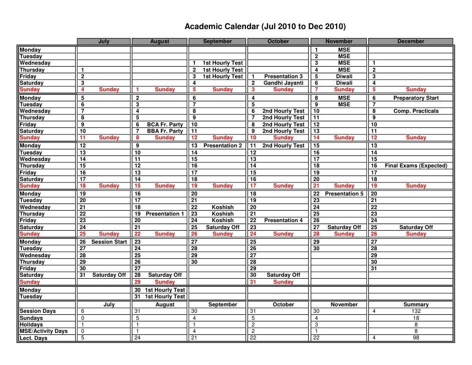 Academic Calendar (Jul 2010 to Dec 2010)                            July               August               September     ...