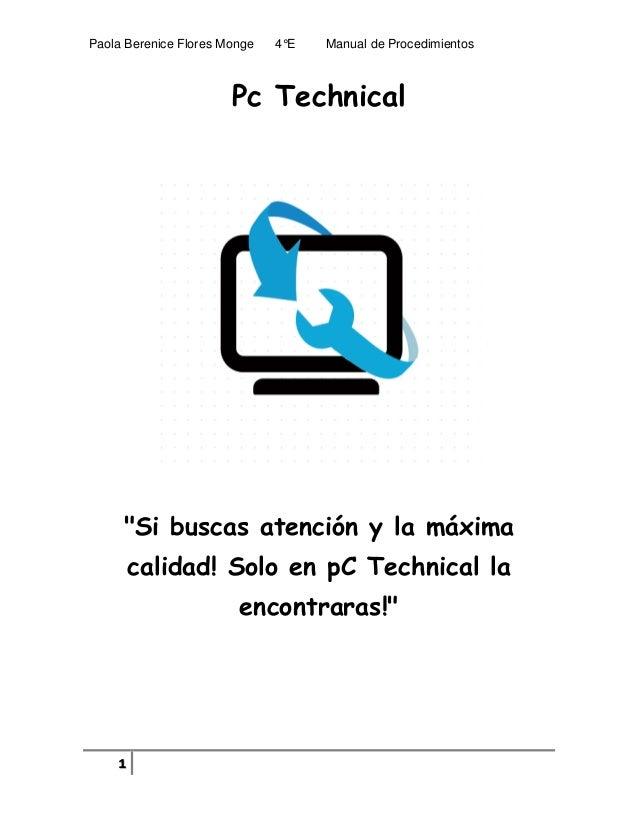 Pc technical manual de procedimientos paola