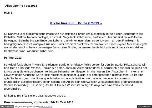 """""""Alles über Pc Test 2013  HOME                                                          Klicke hier Für... Pc Test 2013 » ..."""