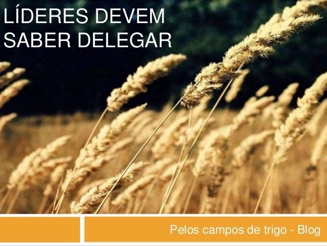 LÍDERES DEVEM SABER DELEGAR Pelos campos de trigo - Blog