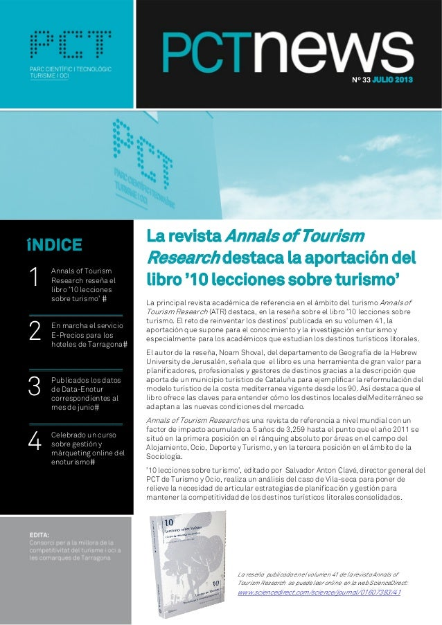La revista Annals of Tourism Research destaca la aportación del libro '10 lecciones sobre turismo' La principal revista ac...