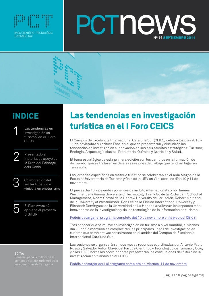 Nº 16 SEPTIEMBRE 2011íNDICE                       Las tendencias en investigación                             turística en...