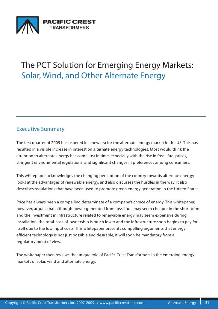 The PCT Solution for Emerging Energy Markets:          Solar, Wind, and Other Alternate Energy           Executive Summary...
