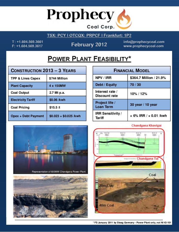 Representation of 600MW Chandgana Power Plant       Prophecy Coal's Ulaan Ovoo Mine – April 2011       Ulaan Ovoo Thermal ...