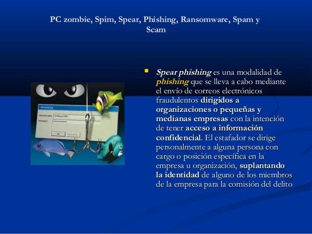 PC zombie, Spim, Spear, Phishing, Ransomware, Spam y                         Scam                          Spear phishing...