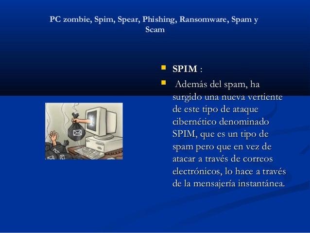 PC zombie, Spim, Spear, Phishing, Ransomware, Spam y                         Scam                              SPIM:    ...