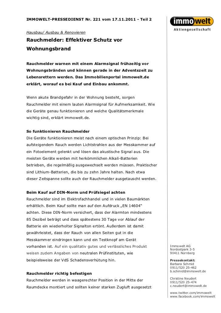 IMMOWELT-PRESSEDIENST Nr. 221 vom 17.11.2011 - Teil 2Hausbau/ Ausbau & RenovierenRauchmelder: Effektiver Schutz vorWohnung...