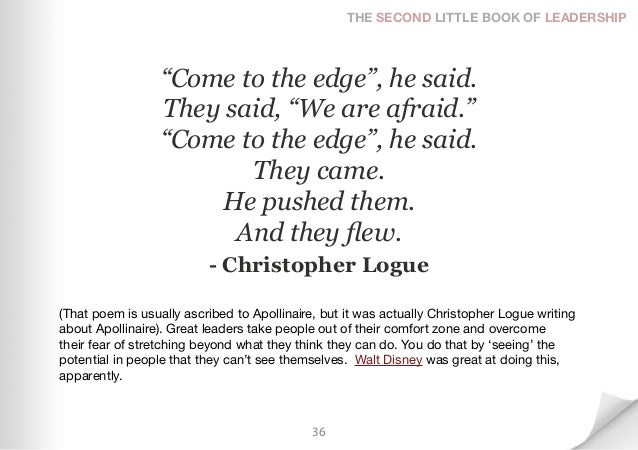 """THE SECOND LITTLE BOOK OF LEADERSHIP                  """"Come to the edge"""", he said.                  They said, """"We are afr..."""