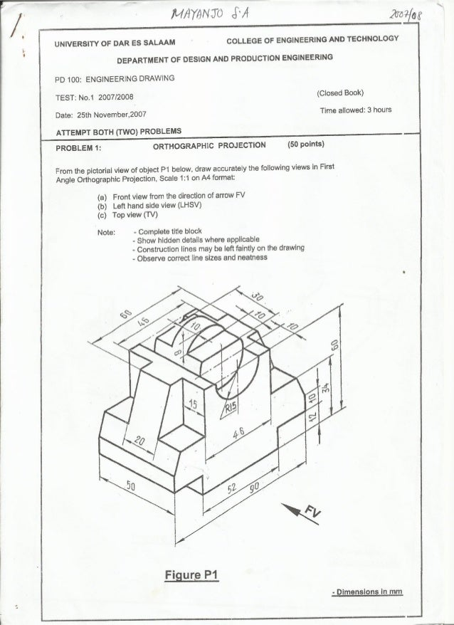 engineering drawing QUESTIONS paper