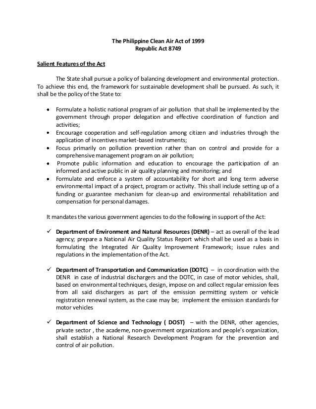 summary of clean air act of the philippines Clean air act of 1999 - philippines 218 likes an act providing for a comprehensive air pollution control policy and for other purposes.