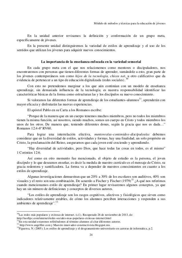 Pd471 métodos y técnicas para la educación de jóvenes