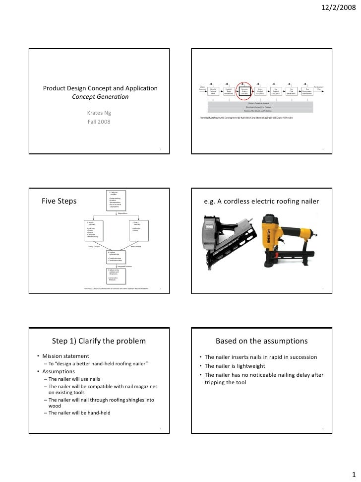 12/2/2008       Product Design Concept and Application            Concept Generation                       Krates Ng      ...
