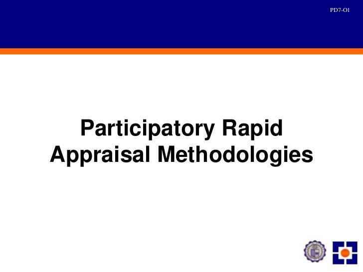 PD7-O1  Participatory RapidAppraisal Methodologies