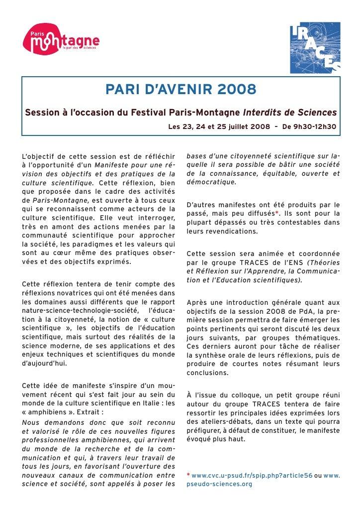PARI D'AVENIR 2008 Session à l'occasion du Festival Paris-Montagne Interdits de Sciences                                  ...