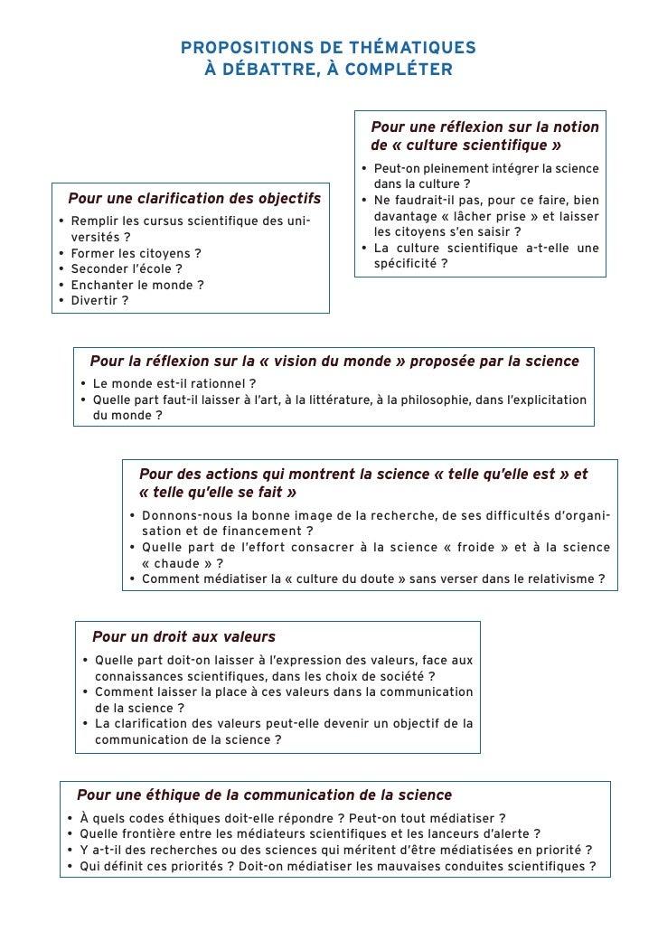 PROPOSITIONS DE THÉMATIQUES                          À DÉBATTRE, À COMPLÉTER                                              ...