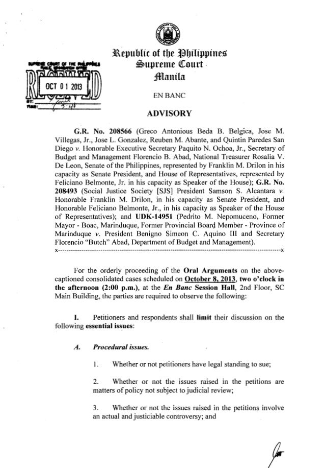 ~·~ (iJ 11epublic of tbe ~bilippines ~upreme QCourt . Jmanila ENBANC ADVISORY G.R. No. 208566 (Greco Antonious Beda B. Bel...