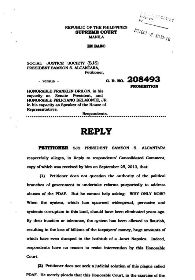 REPUBLIC OF THE PHILIPPINES SUPRBIIB COURT MANILA Bll BAIIC SOCIAL JUSTICE SOCIE'IY (SJS) PRESIDENT SAMSON S. ALCANTARA, P...