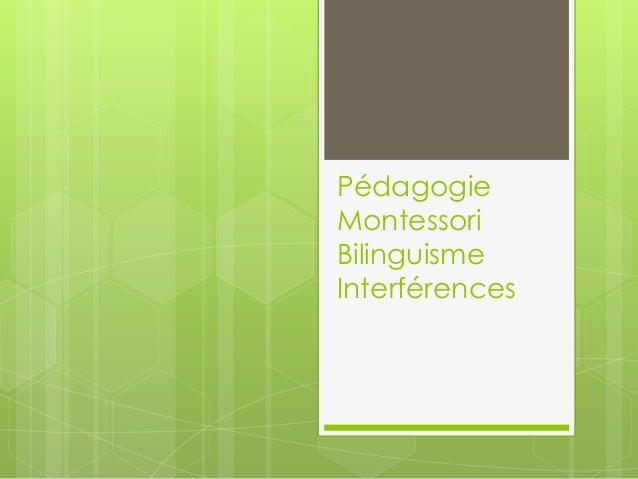 Pédagogie Montessori Bilinguisme Interférences