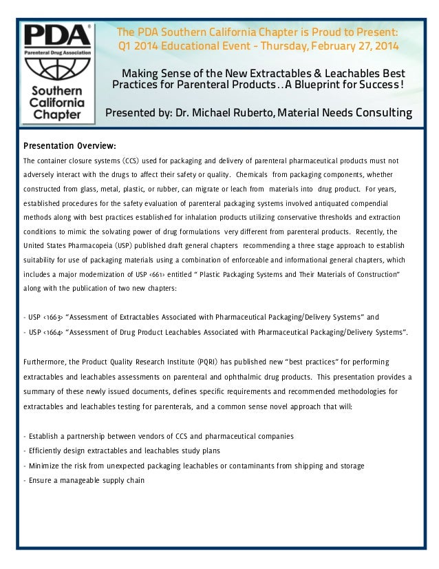 """The PDA Southern California Chapter is Proud to Present: Q1 2014 Educational Event - Thursday, February 27, 2014 """"Making S..."""