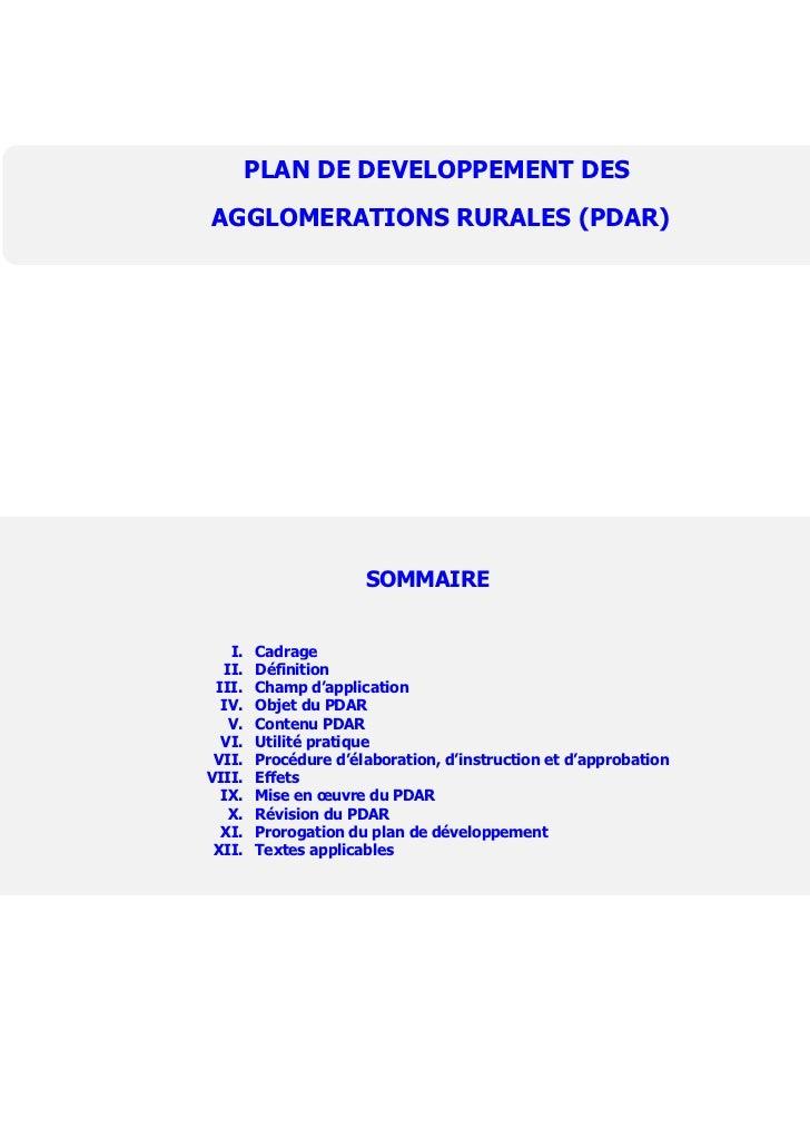 PLAN DE DEVELOPPEMENT DESAGGLOMERATIONS RURALES (PDAR)                      SOMMAIRE   I.   Cadrage  II.   Définition III....