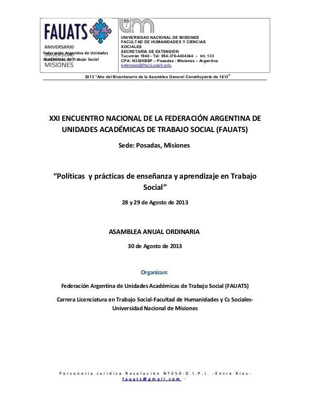 Federación Argentina de UnidadesAcadémicas de Trabajo SocialUNIVERSIDAD NACIONAL DE MISIONESFACULTAD DE HUMANIDADES Y CIEN...