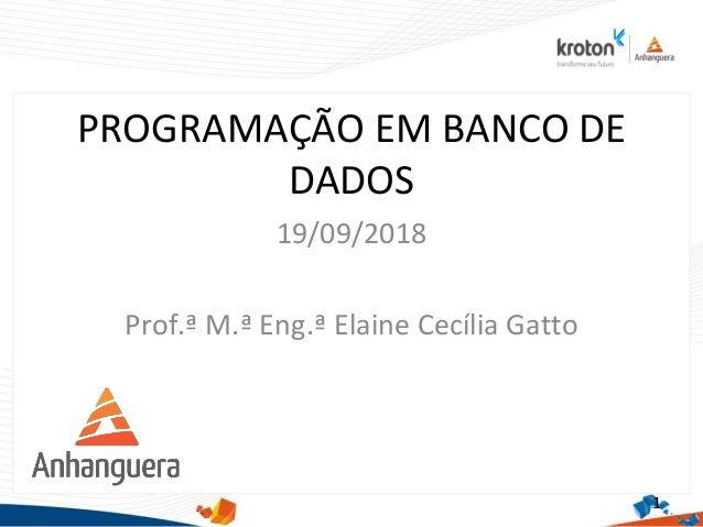 PROGRAMAÇÃO EM BANCO DE DADOS 19/09/2018 Prof.ª M.ª Eng.ª Elaine Cecília Gatto 1