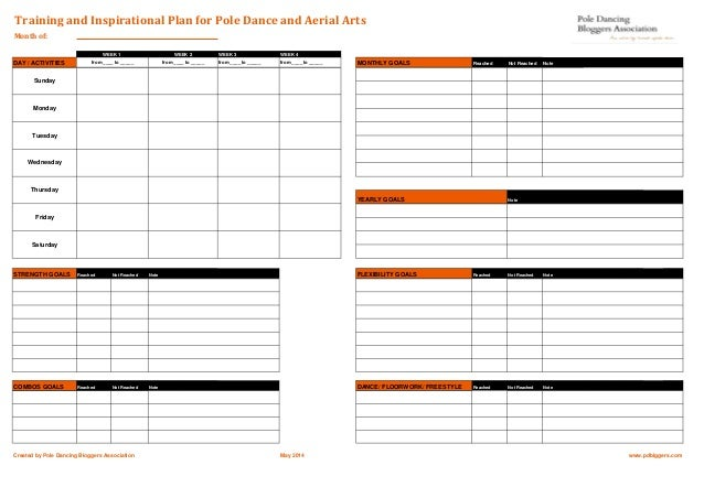 Training plan template for pole dance aerial arts for Fitness plan template weekly