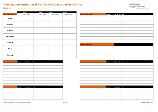 Training Plan Template For Pole Dance & Aerial Arts