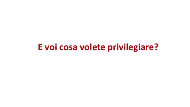 E voi cosa volete privilegiare?