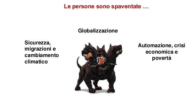 Globalizzazione Automazione, crisi economica e povertà Sicurezza, migrazioni e cambiamento climatico Le persone sono spave...