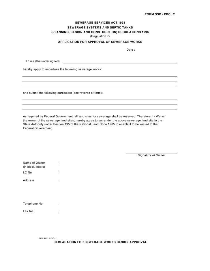 FORM SSD / PDC / 2                                        SEWERAGE SERVICES ACT 1993                                 SEWER...